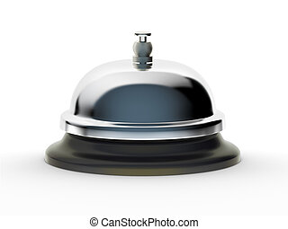 Profile of shiny service bell on white background. Includes pro clipping path.