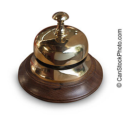 service bell - brass service desk bell with wood base,...