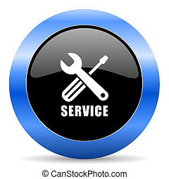 Service black and blue web design round internet icon with shadow on white background.