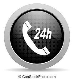service black circle web glossy icon