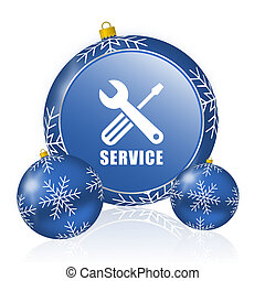 Service blue christmas balls icon
