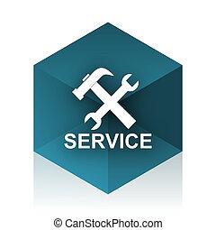 service blue cube icon, modern design web element