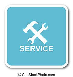 service blue square internet flat design icon