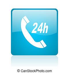 service blue square web glossy icon