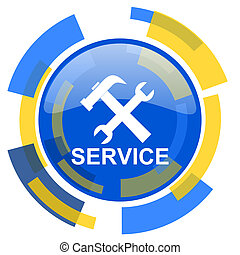 service blue yellow glossy web icon