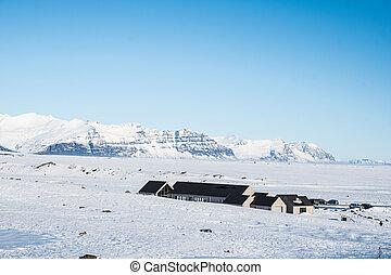 Service buildings at Fjallsarlon glacier lagoon in south Iceland