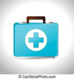 service cas urgent, kit, médecine, aide, premier