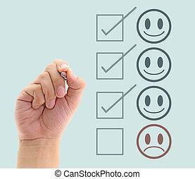 service clientèle, form., main, mettre, marque, évaluation, chèque