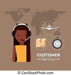 service clientèle, icônes, plat