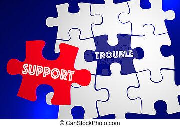 service clientèle, soutien, problème, illustration, résolu, ennui, question, puzzle, 3d