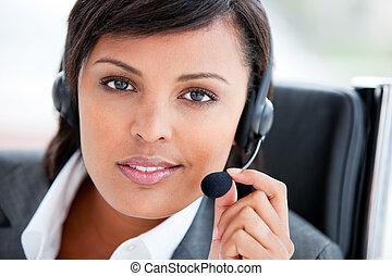service clientèle, travail, agent, charmer, portrait
