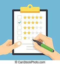 service, clipboard., moderne, quatre, conception, concepts., chèque, positif, revue, stylo, presse-papiers, 4, étoiles, évaluation, qualité, plat, bon, tenue, illustration, mains, client, mark., vecteur, rating.