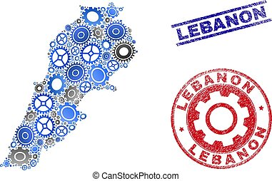 Service Collage Vector Lebanon Map and Grunge Stamps