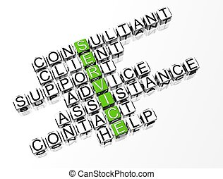 Service Color Crossword text on white background