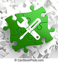 Service Concept on Green Puzzle Pieces.