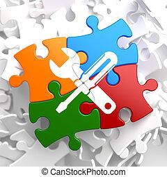 Service Concept on Multicolor Puzzle.