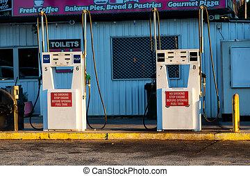 service concept the old gasoline pump station