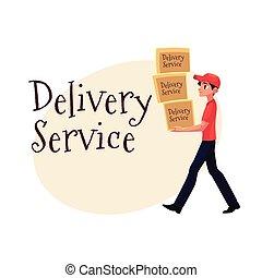 service, courrier, ouvrier, jeune, boîtes, livraison, porter, tas, paquets