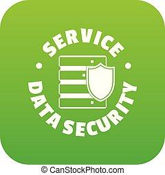 Service data security icon green vector