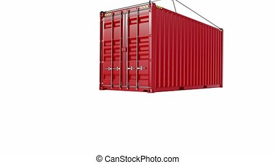 Service delivery - red cargo container hoisted by hook. 3D...