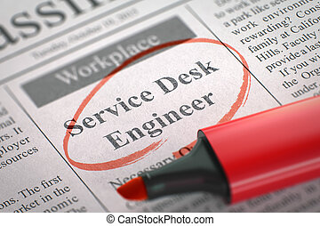 Field service engineer wanted  3d  Newspaper with small ads of job