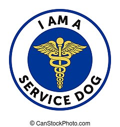 Service dog badge, sticker with text - I am a service dog