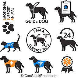 Service dogs and emotional support animals emblems with health care related icons