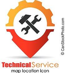service, emplacement, marqueur