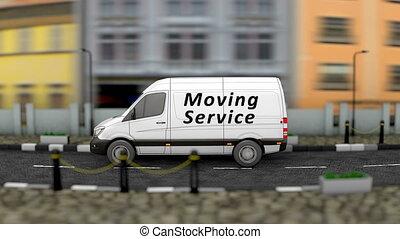service, en mouvement, véhicule