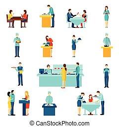 service, ensemble, icônes, restauration, plat