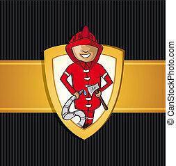 Service firefighter man cartoon Rescue shield.