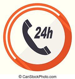 Service flat design vector web icon. Round orange internet button isolated on white background.