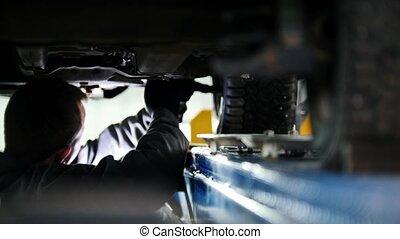 service, fonctionnement, fond, automobile, -, emballage, mécanicien, sous, appareil, voiture