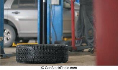 service, fonctionnement, voiture, -, détail, mécanicien, auto, unscrews