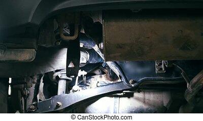 service, fond, voiture, auto, -, détail, mécanicien, véhicule, sous, unscrews