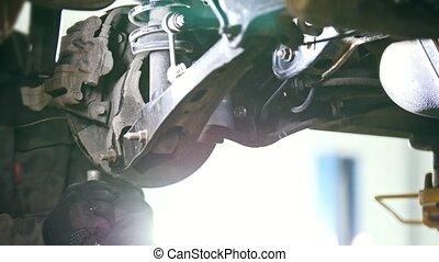 service, fond, voiture, sous, -, auto, détails, mécanicien, véhicule, chèques