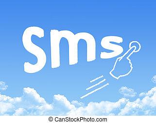 service, form, kort, meddelande, moln