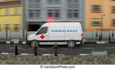 service, fourgon, véhicule, ambulance