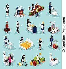 service, hôtel, ensemble, isométrique, icône