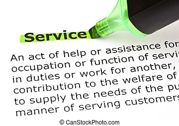 Service highlighted in green - Definition of the word...