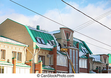 service, house., nettoie, neige, toit, nettoyage