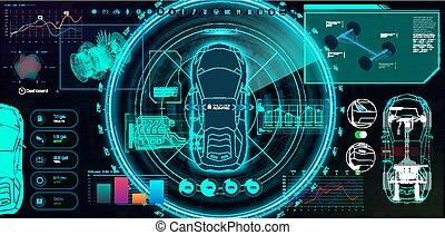 service, (hud, auto, ui, utilisateur, gui), interface, futuriste