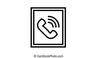 service, icône, animation, signe, ligne, appeler