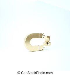 service., icône, render, arrière-plan., client, magnet., rétention, attirer, 3d, illustration, or, soutien, isolé, blanc, homme