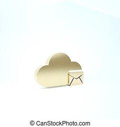 service., icône, signe., render, ligne, arrière-plan., serveur, boîte lettres, email., 3d, nuage, hosting, illustration, blanc, or, isolé, message, courrier