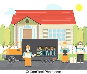 service, icônes, livrer, compagnie, relocalisation, isolé, style., livraison, boîtes, vecteur, objets, truck., dessin animé