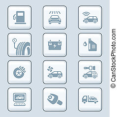 service, icônes, série, technologie, voiture, |