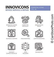 service, icônes, set., moderne, -, vecteur, conception, appareil, ligne