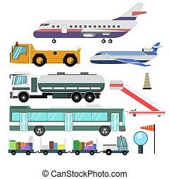 service, icônes, véhicules, isolé, aéroport, vecteur, avions