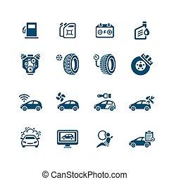 service, icônes, voiture, micro, série, |